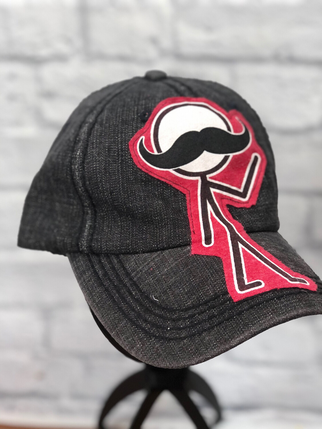 Jean Hat Upcycled Mustache Stick Man OS