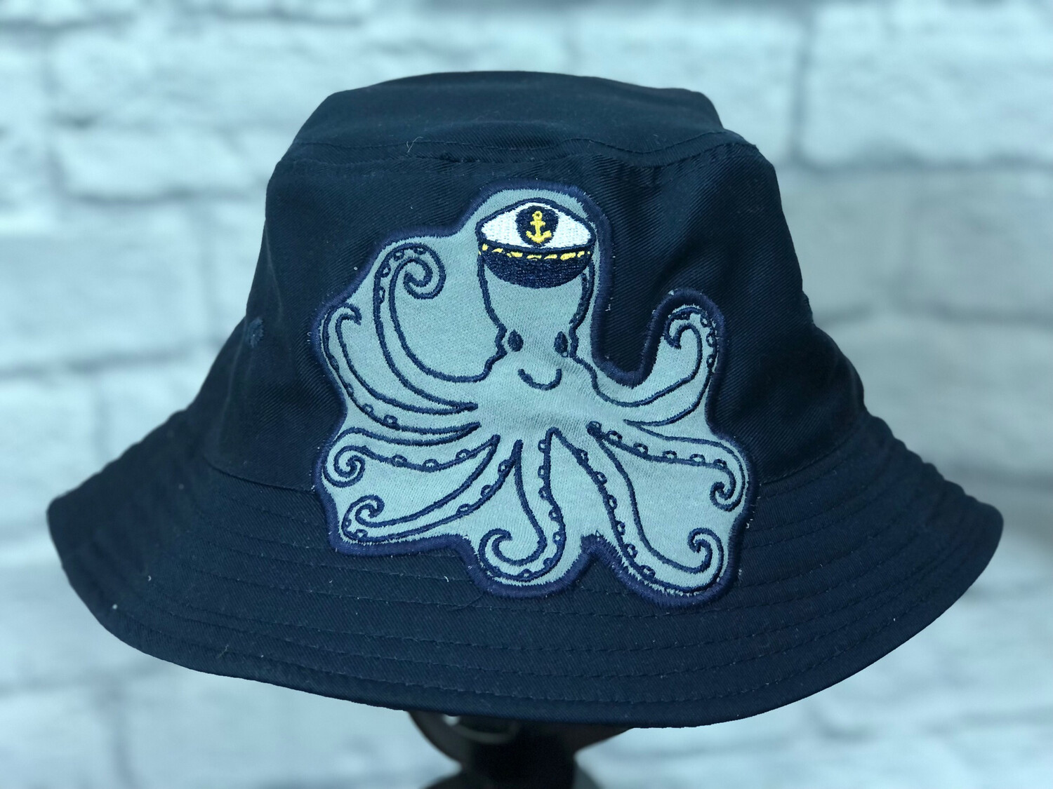 Bucket Hat Upcycled Navy Octopus OS