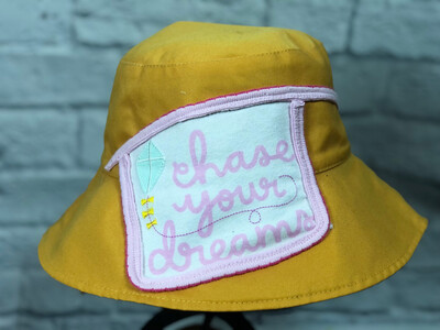 Bucket Hat Upcycled Chase Your Dreams OS