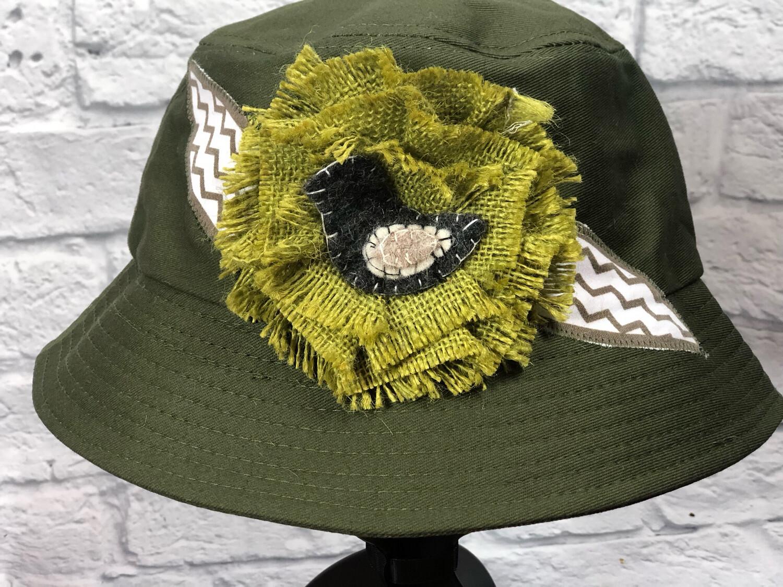 Bucket Hat Upcycled Burlap Flower OS