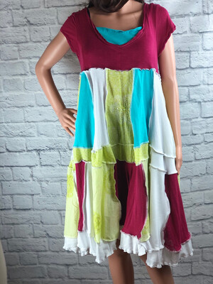 S Threads Upcycled Dress Patchwork Boho Relaxed Fit OOAK Beautiful Cottage Size M/L/XL