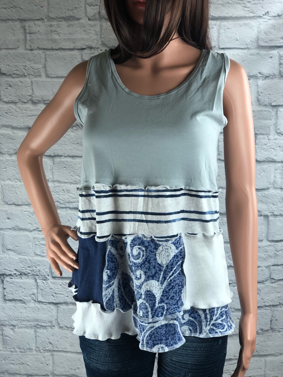 S Threads Upcycled Tank Racer Back Stripes Solids Florals Size M/L