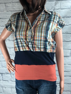S Threads Upcycled Top Ruffle Button Up Plaid Blouse Size M/L