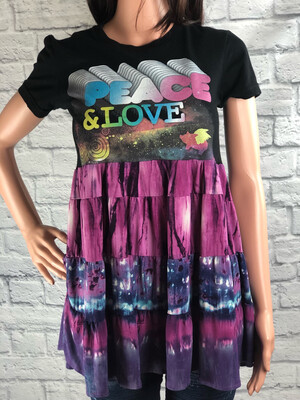 S Threads Upcycled Top Peace & Love Babydoll Top size S/M