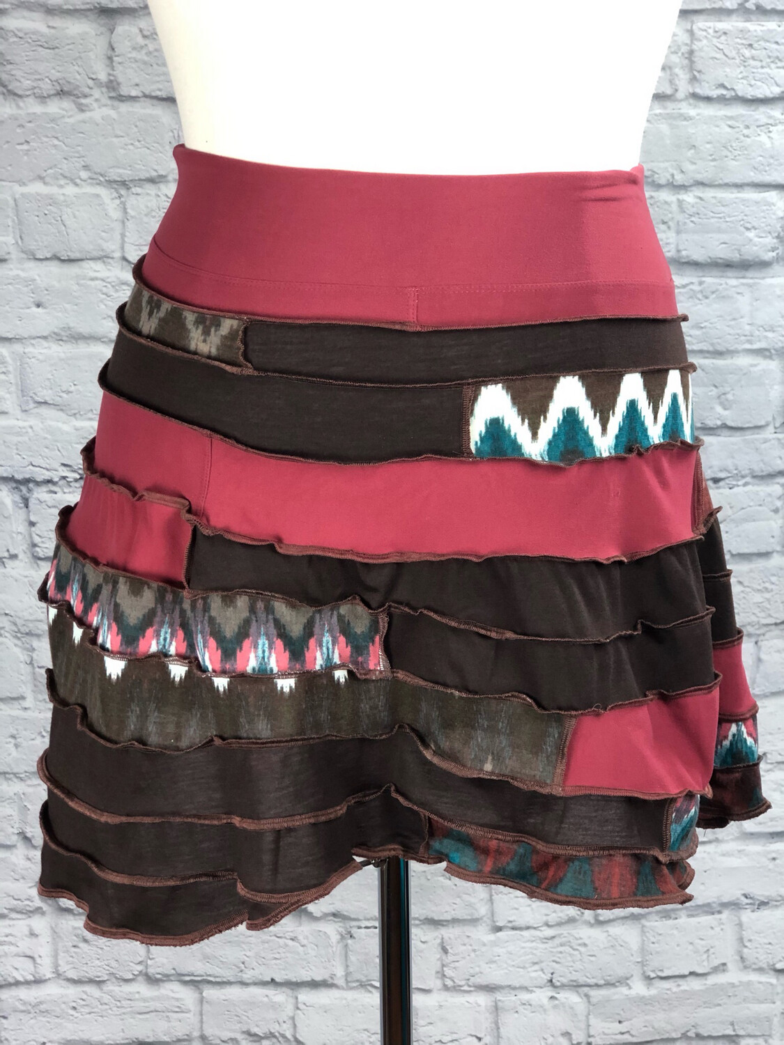 S Threads Upcycled Skirt Patchwork Spiral Skirt One Size (size XS-XL)