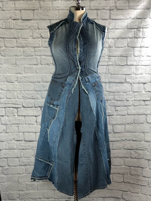 S Threads Upcycled Jacket Jean Vest Coat Patchwork W Pockets Size Large/XL