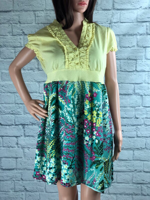 S Threads Upcycled Dress Ruffle Button Up Velvet Print Floral Size Medium/ Large
