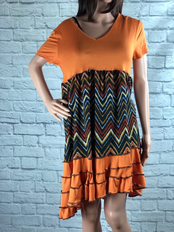 S Threads Upcycled Dress Ruffle Trim Chevron Print Short Sleeve Size L /XL/ 2X