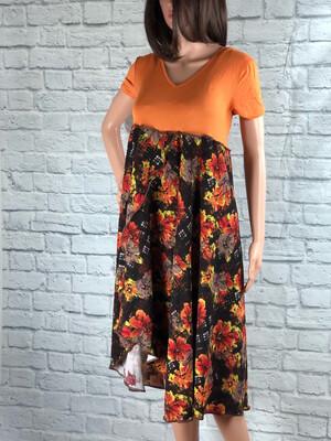 S Threads Upcycled Dress Orange Floral Asymmetrical Hem Size M/L/XL