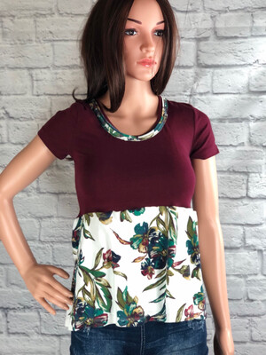 S Threads Upcycled Top Maroon And Floral Print Size XS/S