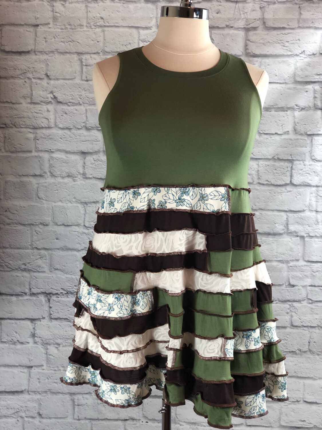 S Threads Upcycled Dress Patchwork Spiral Green Brown Fit And Flare Size L/ XL/ 2X