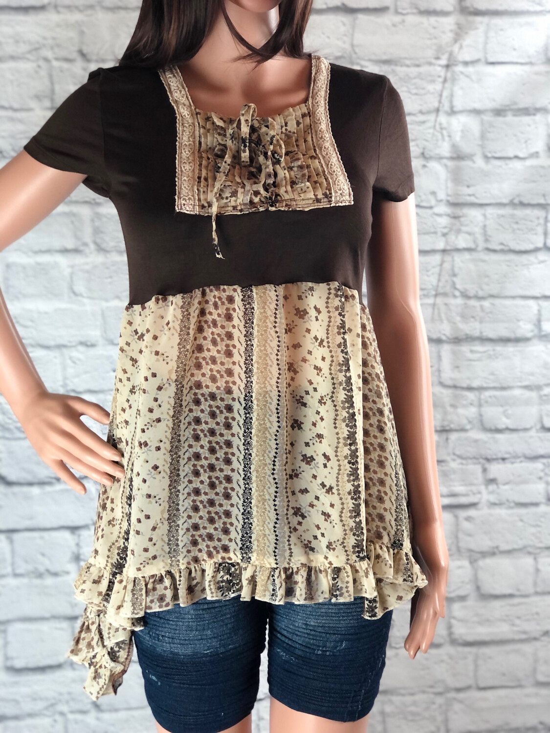 S Threads Upcycled Top Tshirt Blouse Short Sleeve Sheer Boho Ruffle Lace Up Size S/M/L