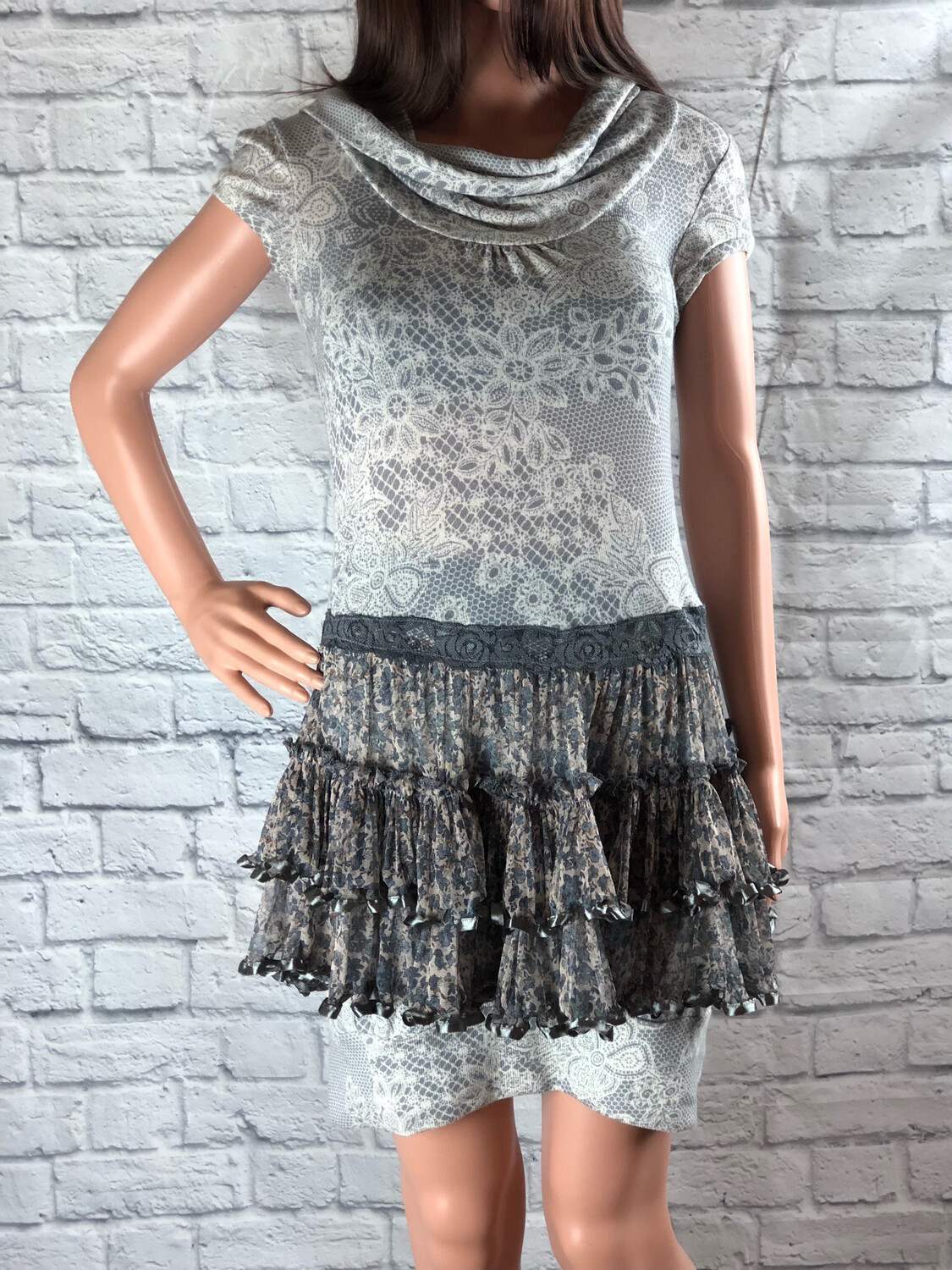 S Threads Upcycled Dress Tube Dress Cowl Neck W Lace Print And Ruffle Ribbon Skirt Size S/M/L