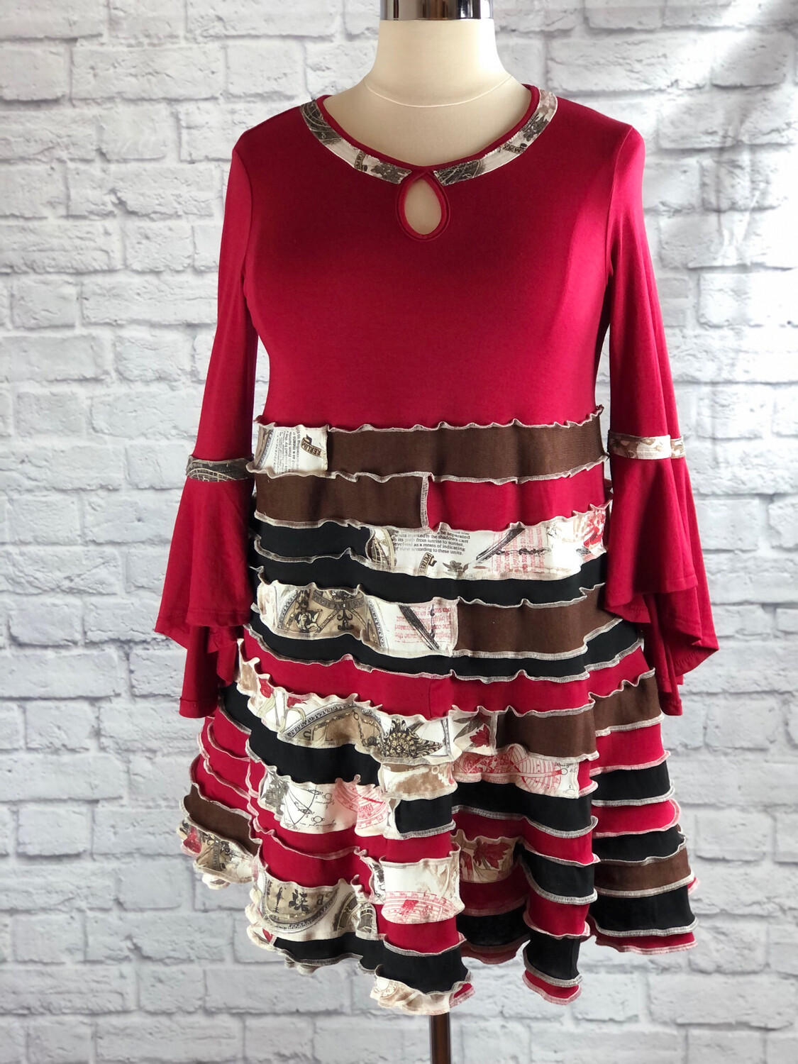 S Threads Upcycled Dress Spiral Patchwork Bell Sleeve Keyhole Size XL/2X/3X