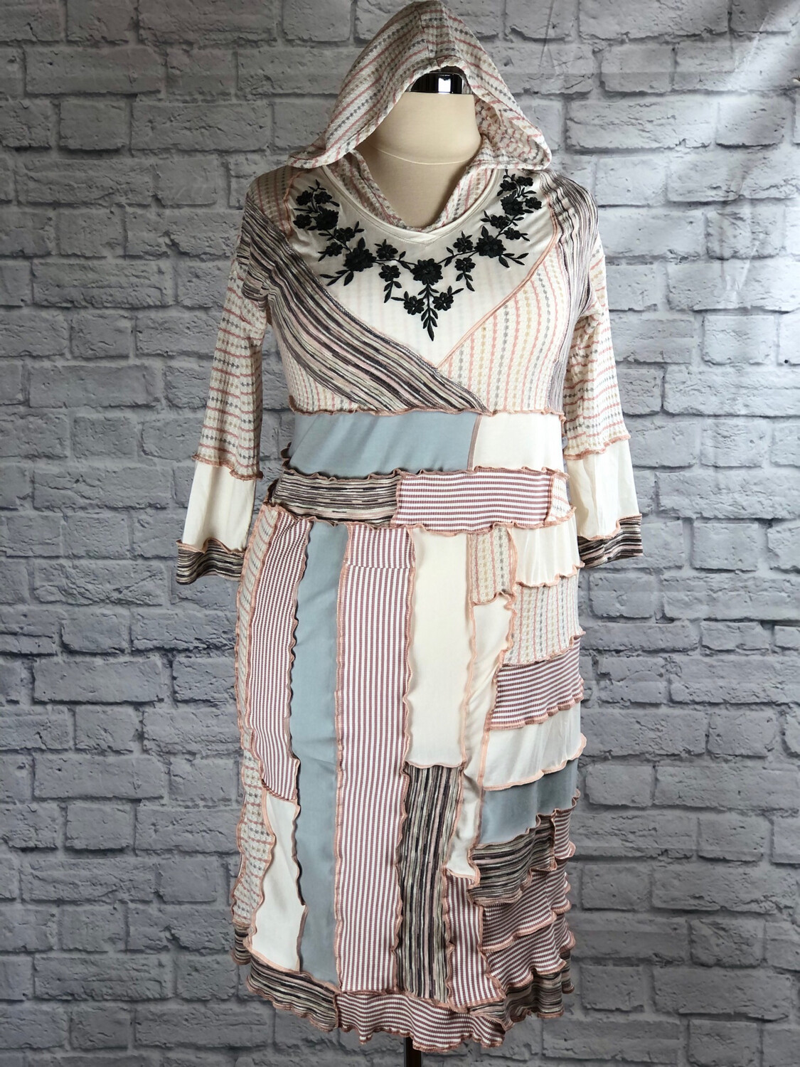S Threads Upcycled Dress Patchwork Hooded Shift Size L / XL / 2X