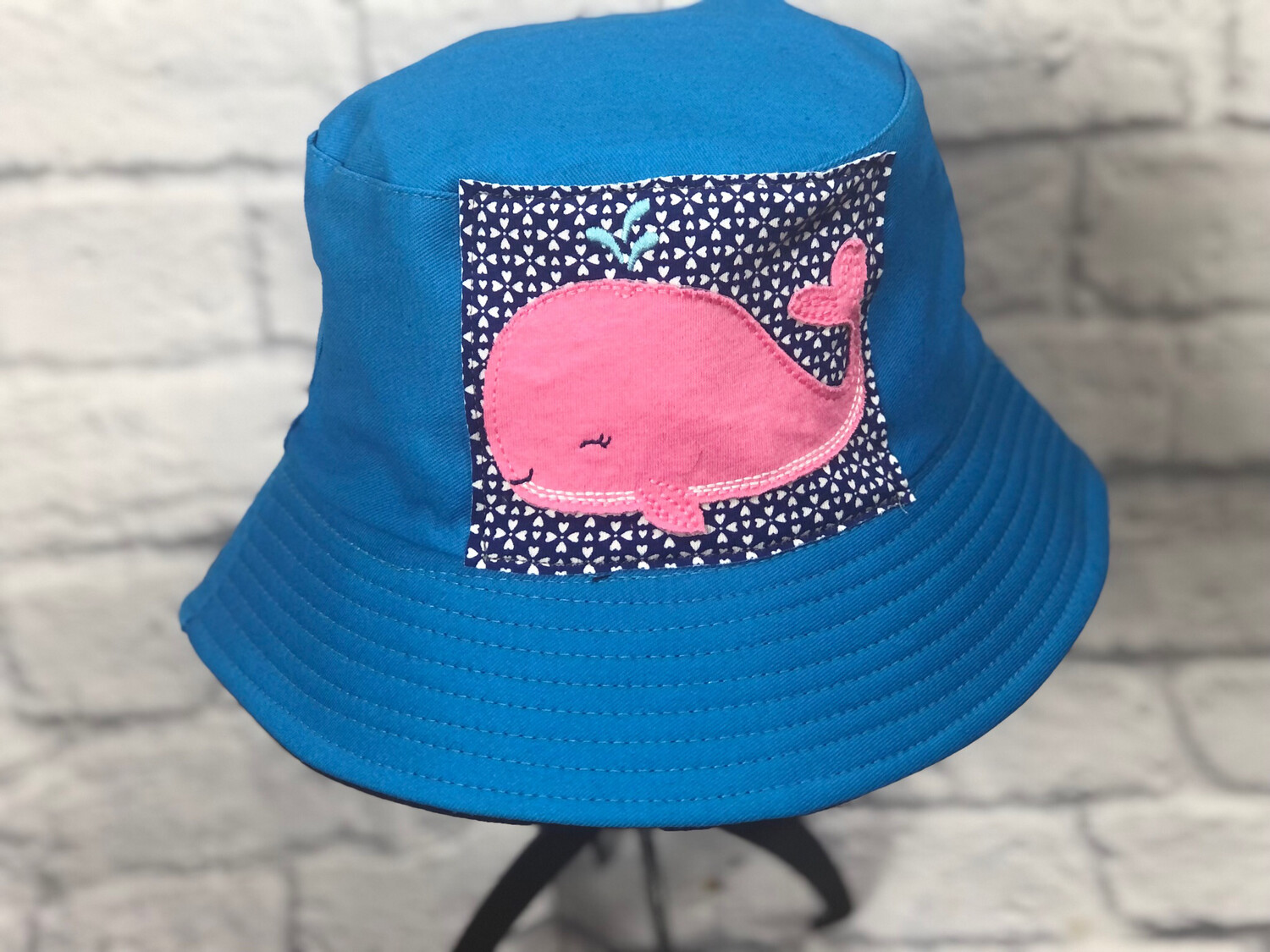 Bucket Hat Upcycled Pink Whale OS