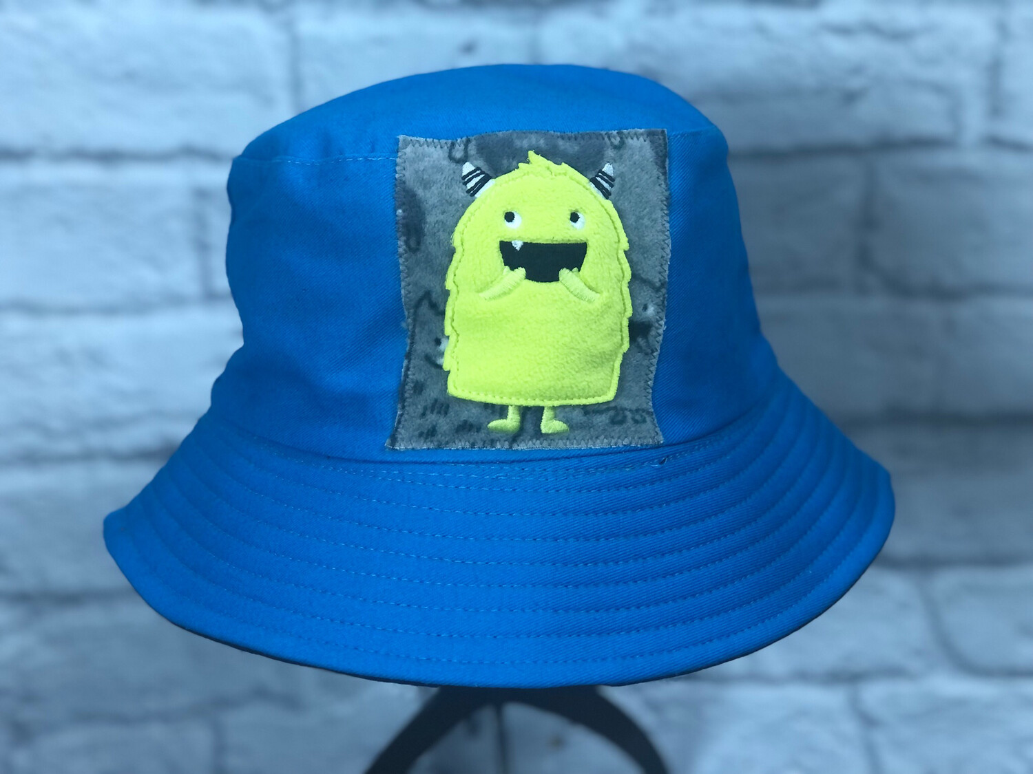 Bucket Hat Upcycled Fuzzy Green Guy OS