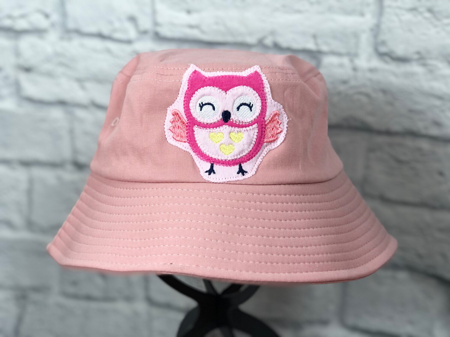 Bucket Hat Upcycled Pink Owl OS