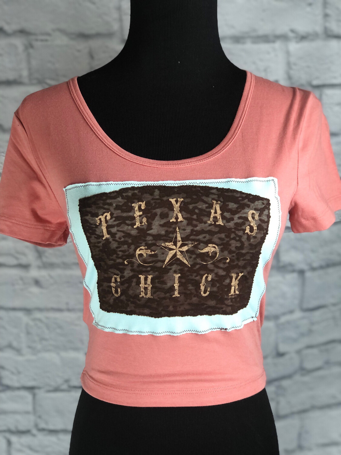 S Threads Upcycled Crop Top Texas Chick Size XS/S/M