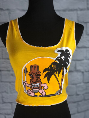 S Threads Upcycled Crop Top Tiki Palm Size S/ M