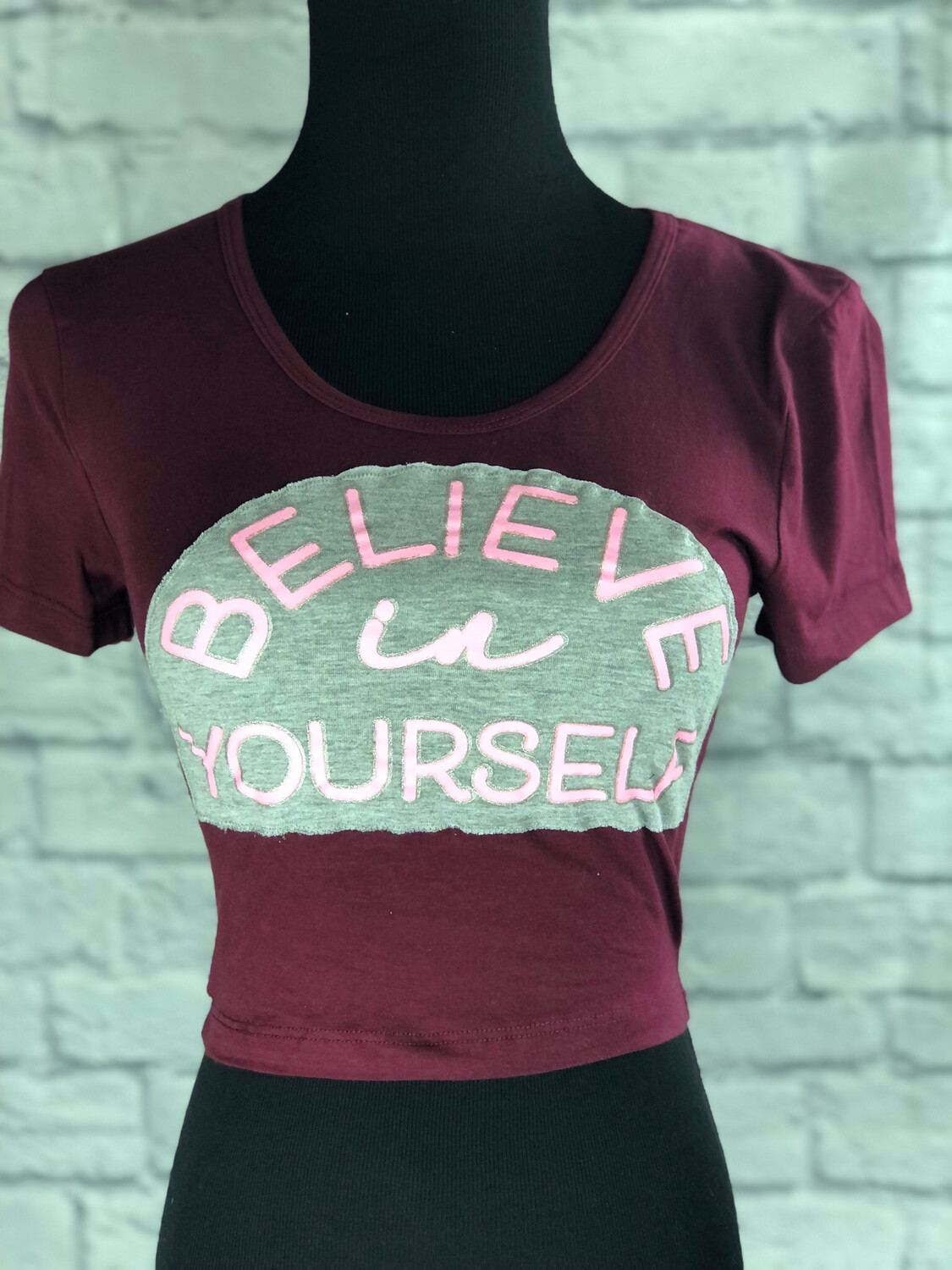 S Threads Upcycled Crop Top Believe In Yourself Size XS/S
