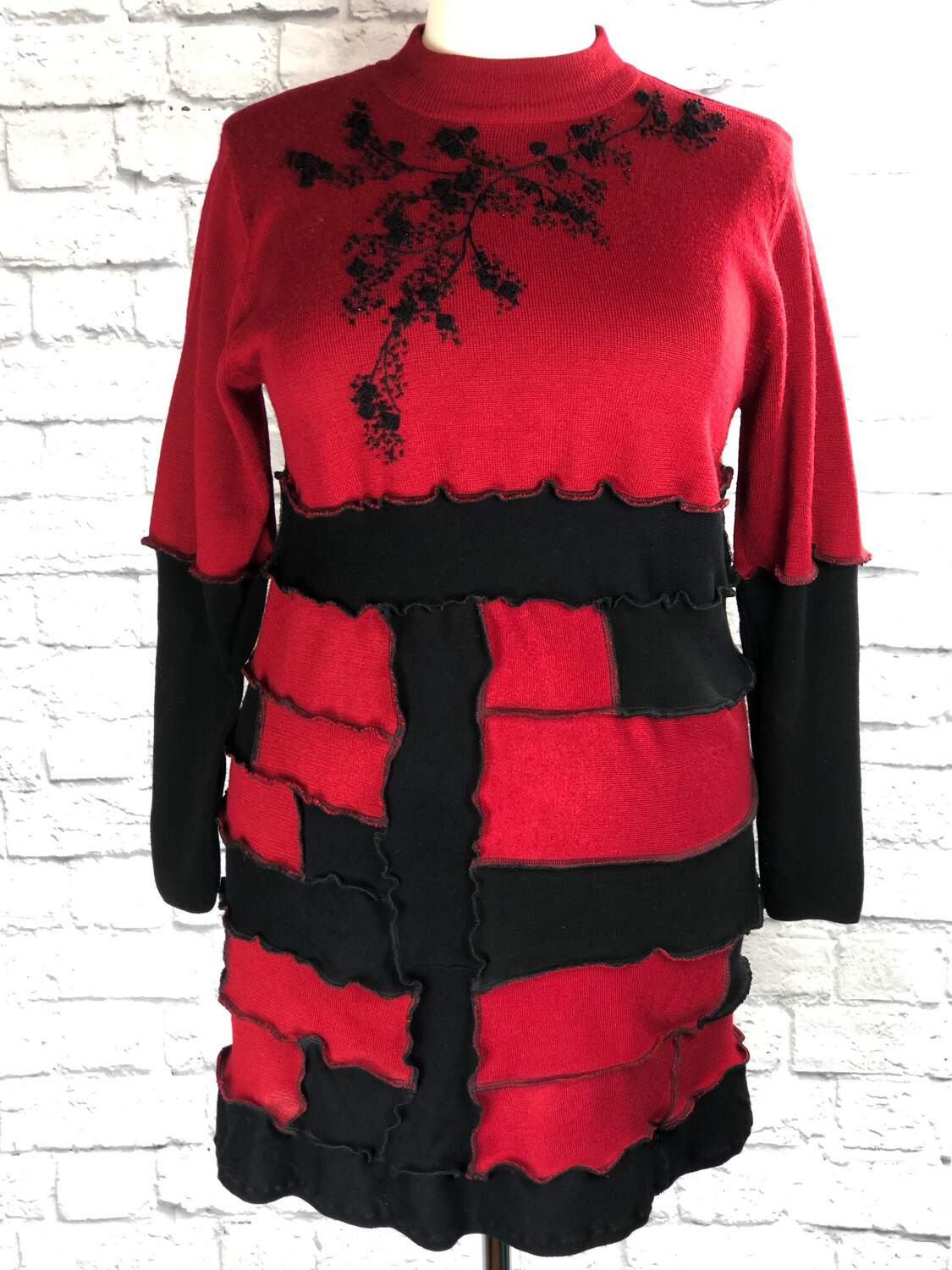 S Threads Upcycled Sweater Dress High Neck Patchwork Roses & Beadwork Size L/XL