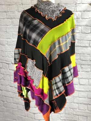 S Threads Upcycled Halloween Poncho Patchwork One Size