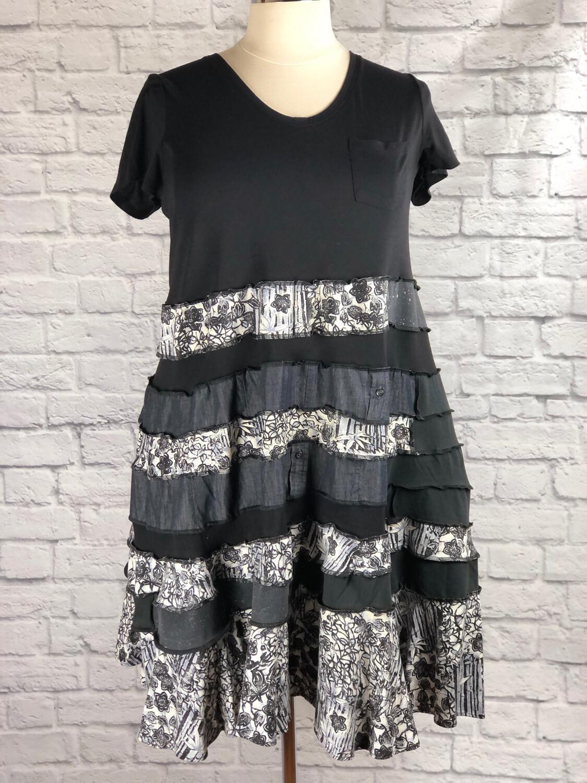 S Threads Upcycled Dress Black Spiral Patchwork Plus Size  2X/ 3X/ 4X