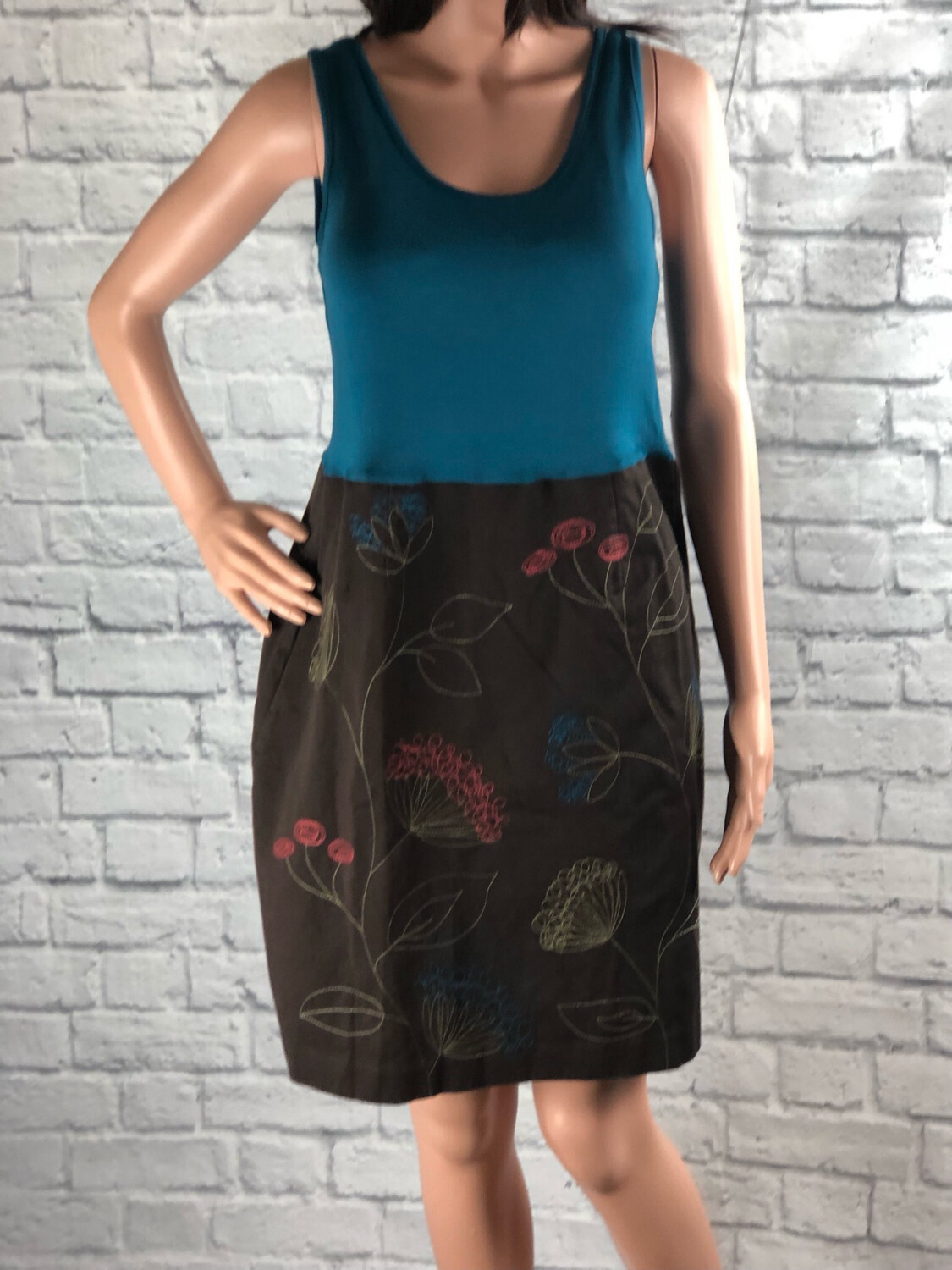 S Threads Upcycled Dress Embroidery Embellished Tank Dress Size S/M/L