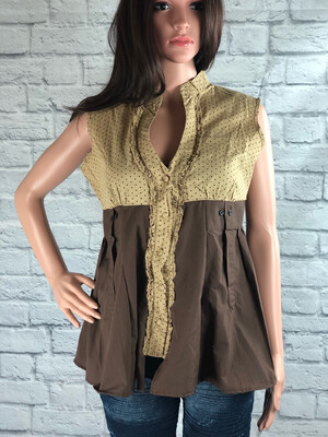 S Threads Upcycled Top Ruffle Polkadot Button Up Blouse Size S/M