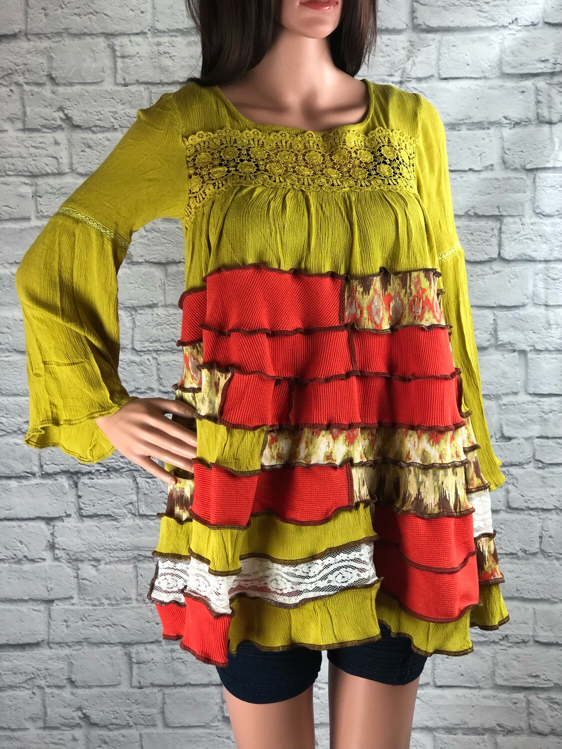 S Threads Upcycled Top Chartreuse Bell Sleeve Spiral Patchwork Size S