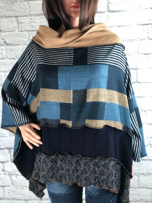 S Threads Upcycled Poncho Sweater Soft Fleece Size OS