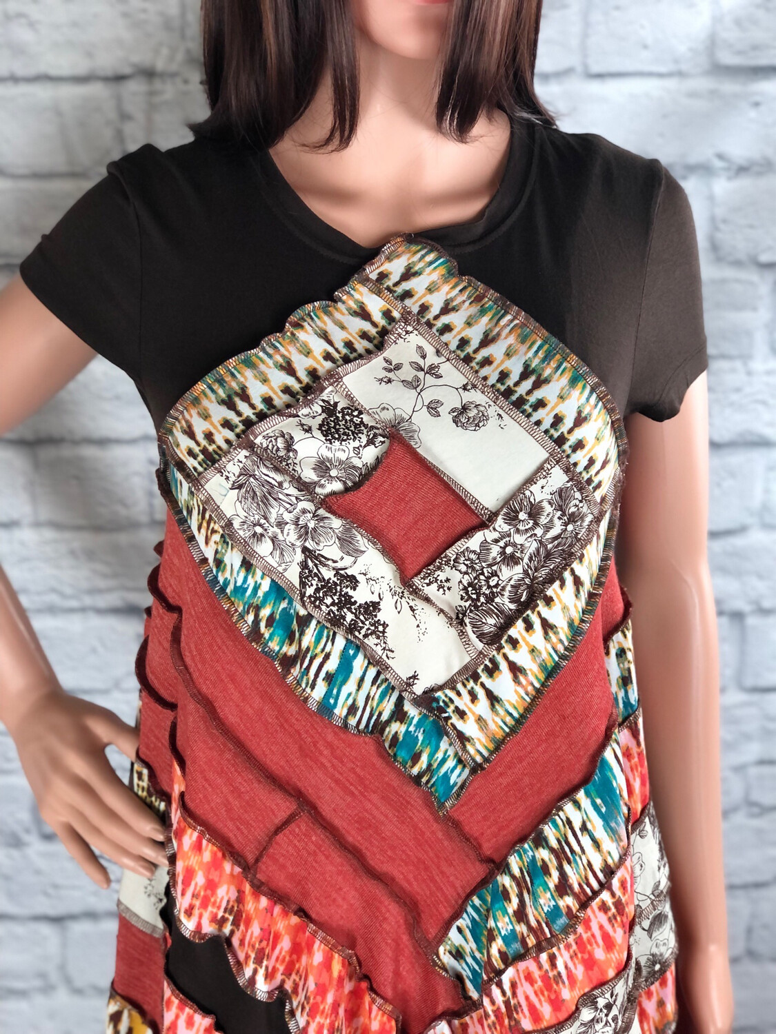 S Threads Upcycled Dress Square Patchwork Spiral Size S/M/L