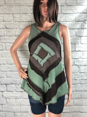 S Threads Upcycled Tank Top Patchwork Quilt Block Style Size S/M/L