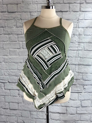 S Threads Upcycled Tank Top Patchwork Quilt Block Style Size L/XL/2X