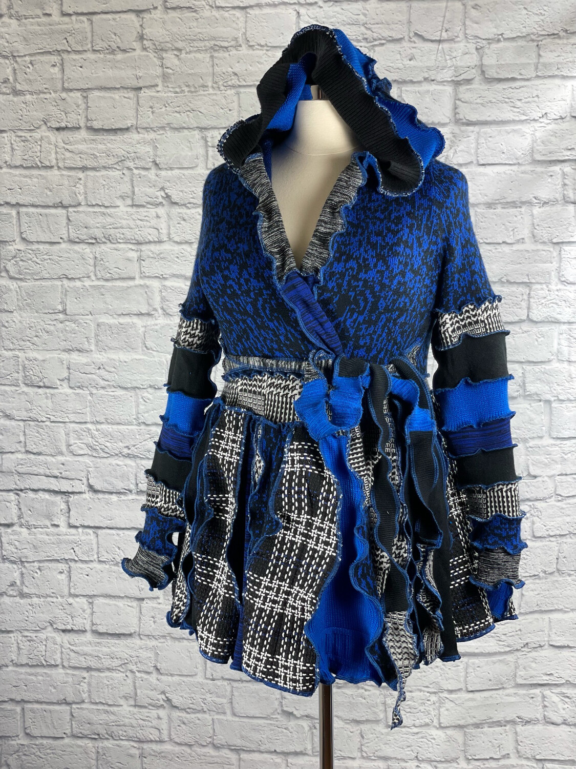 S Threads Upcycled Sweater Coat Pixie Style Pointed Hood Size L/XL/2X