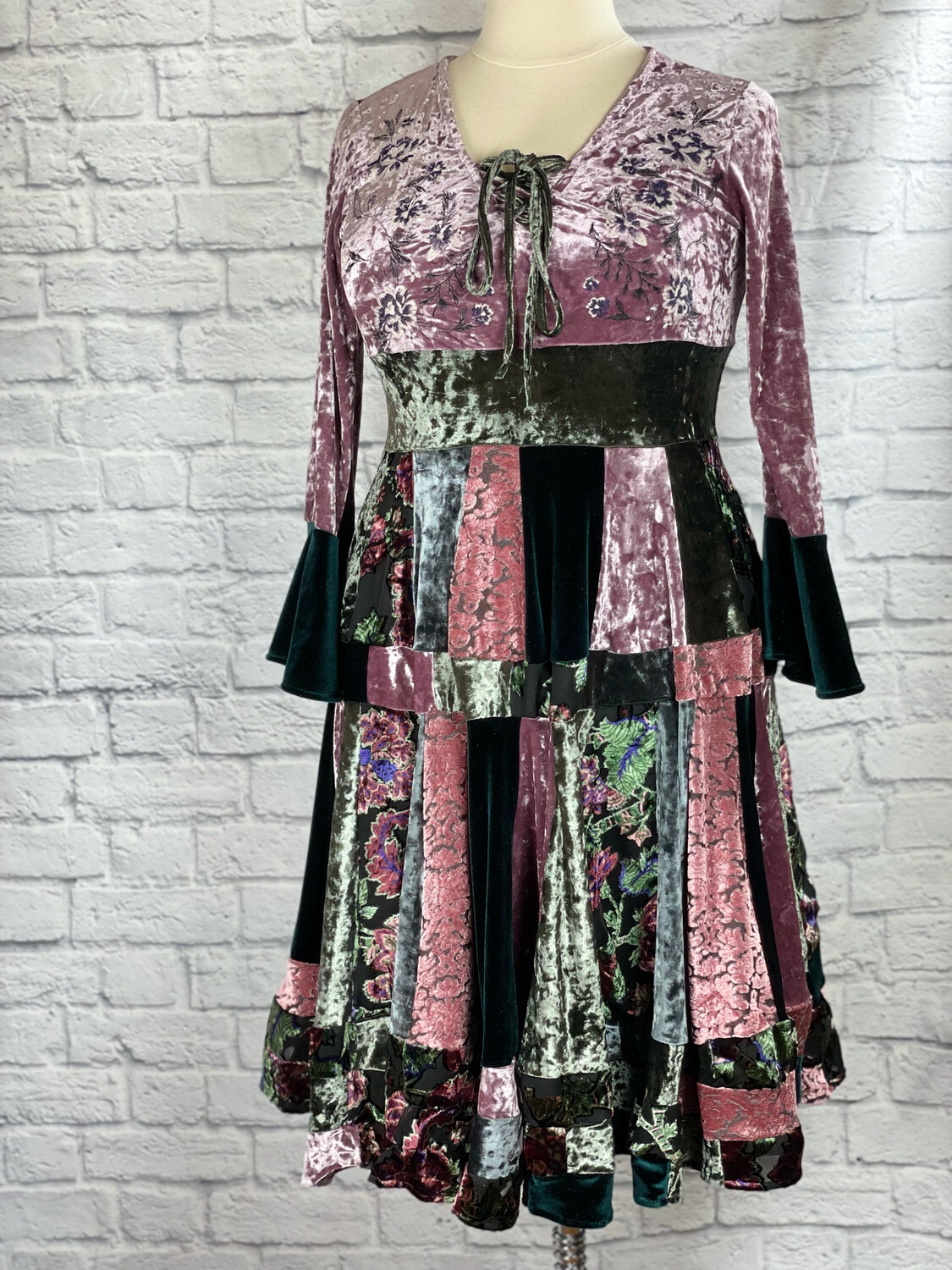 S Threads Upcycled Dress Velvet Renaissance Panel Patchwork Lace Up Bell Sleeve Fits Size M/L/XL/2X