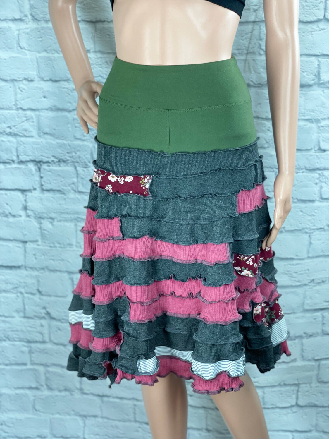 S Threads Upcycled Skirt Yoga Band Patchwork Spiral Striped Floral One Size