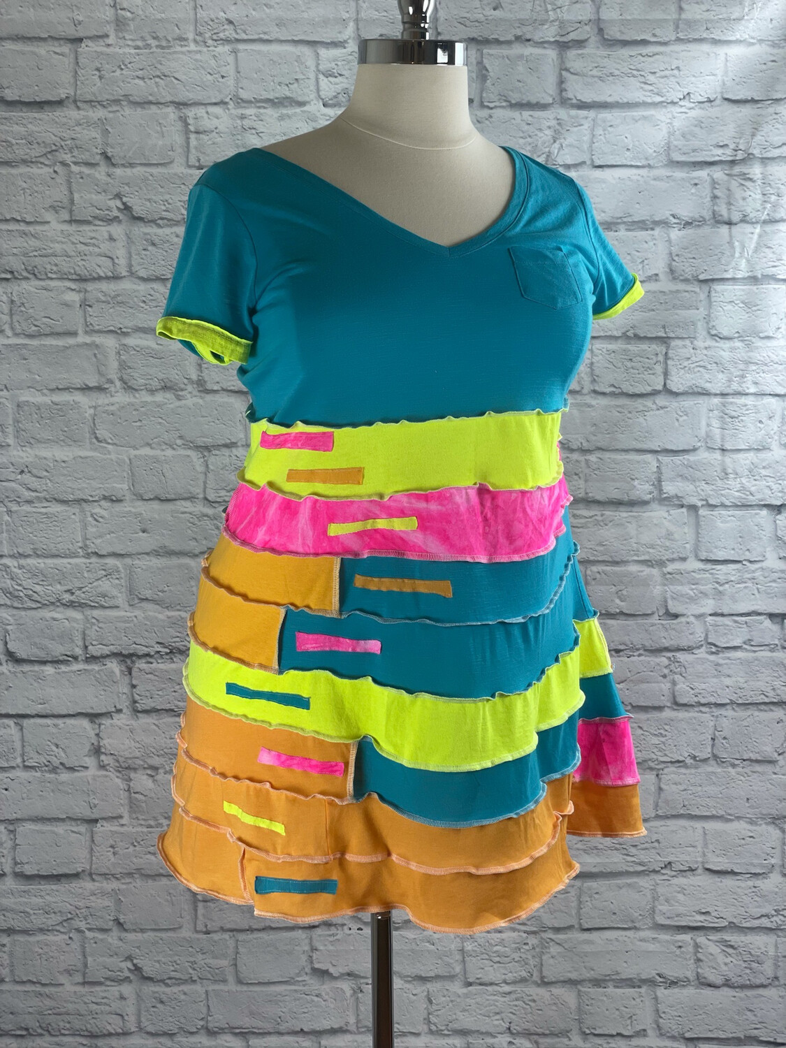 S Threads Upcycled Dress Highlighter Colors Spiral Patchwork Size 2X/3X/4X