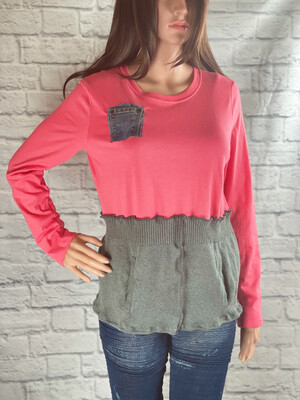 S Threads Upcycled Top Long Sleeve Sweater Mashup W Pockets Size M/L