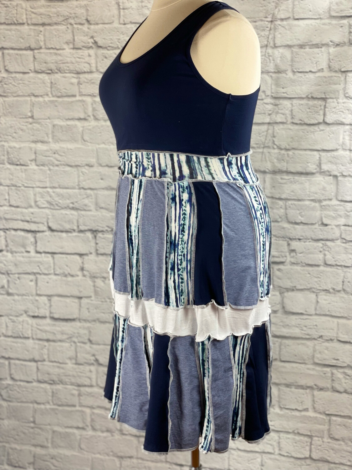 S Threads Upcycled Dress Patchwork Panel Cottage Style Size L/XL