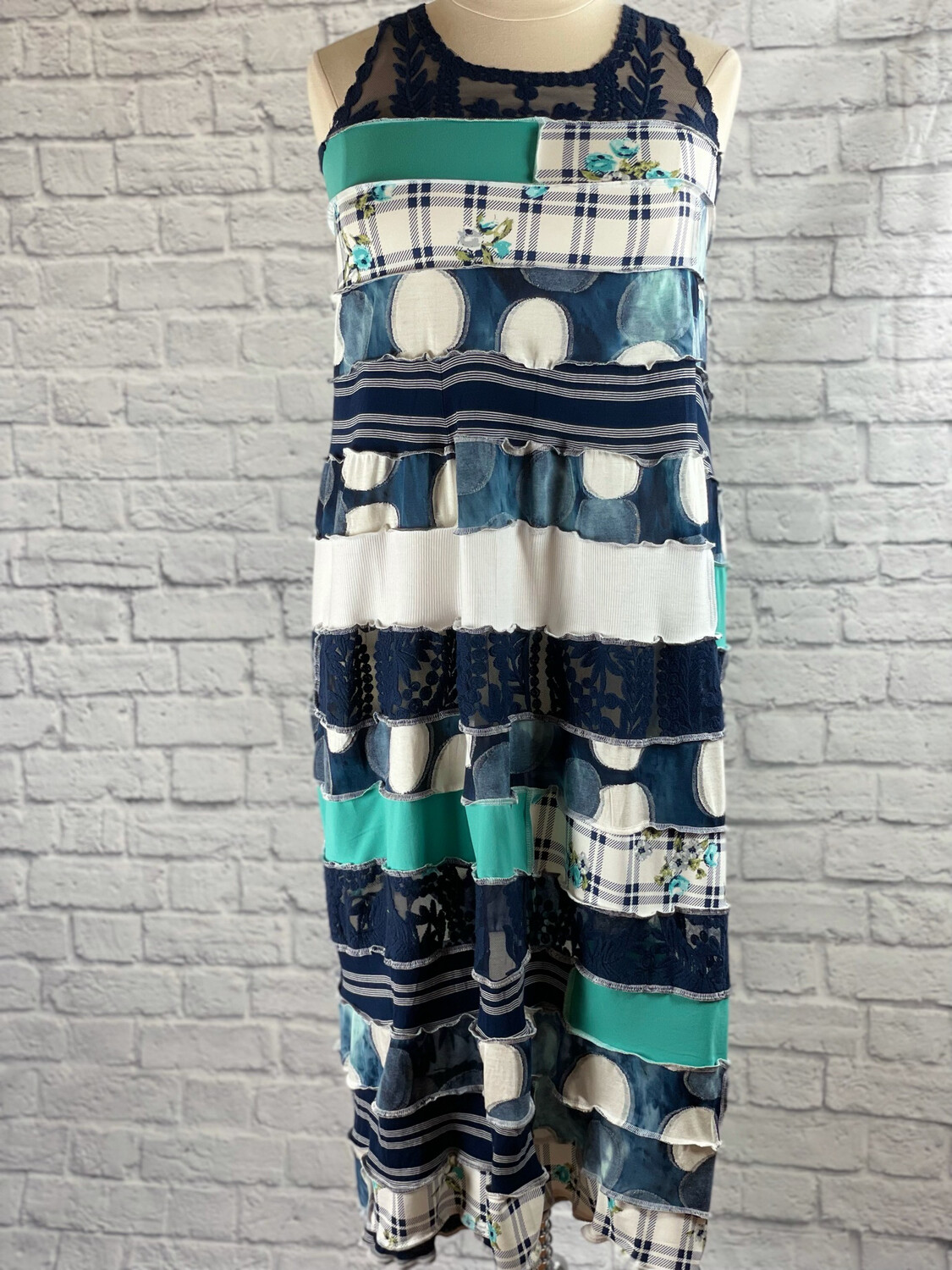S Threads Upcycled Dress Patchwork Spiral Lacey Blues Size L/XL/2X