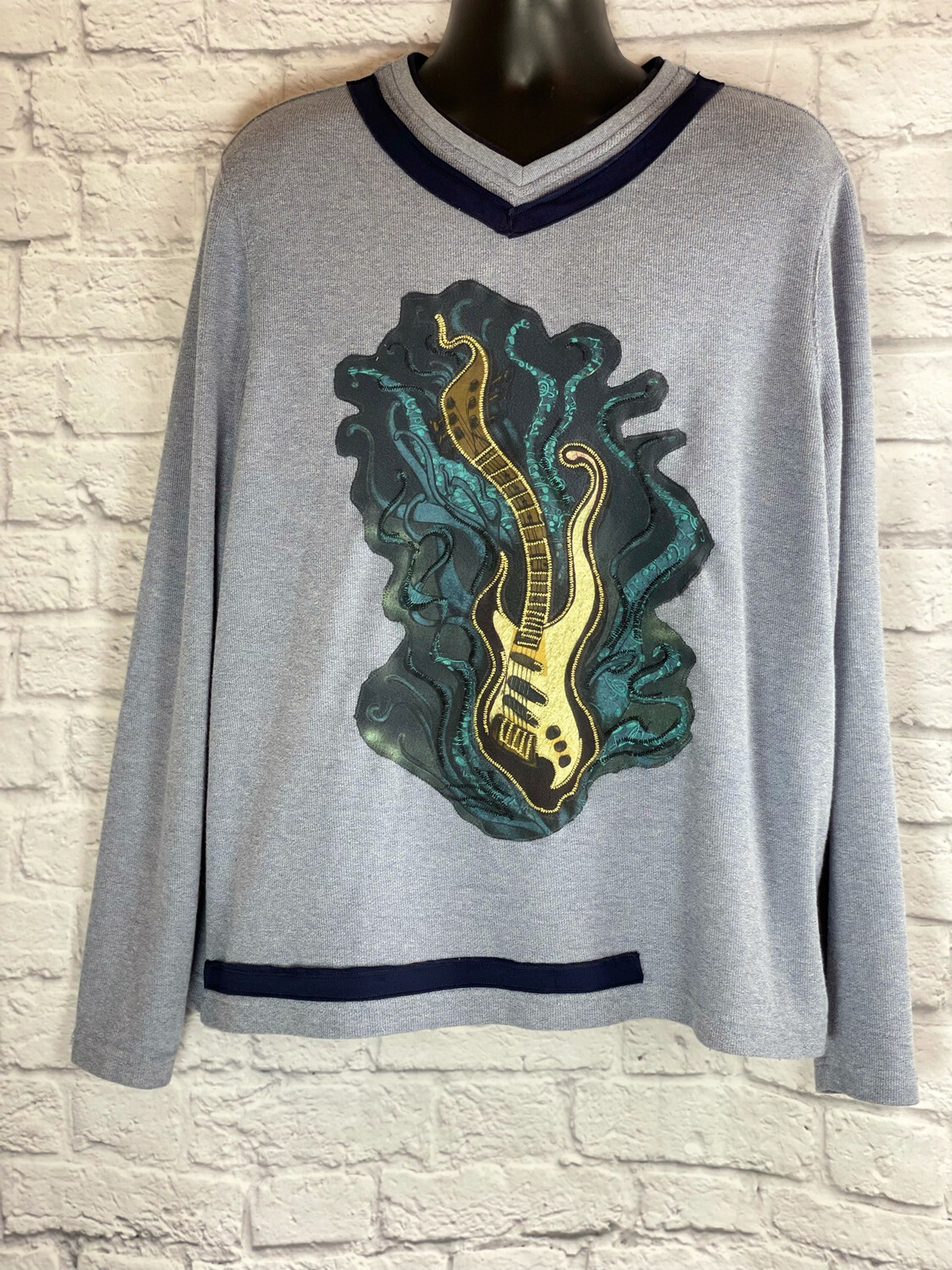 S Threads Upcycled Mens Long Sleeve Guitar Sweater Size XL/ 2X