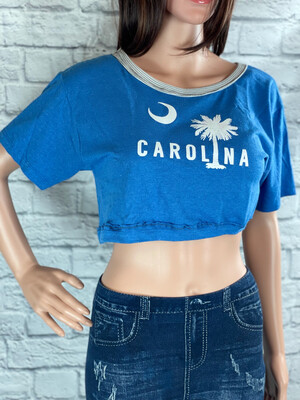 S Threads Upcycled Crop Top Carolina Palmetto Size M/L/XL