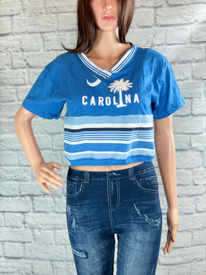 S Threads Upcycled Crop Top Carolina Palmetto Stripes Size L/XL