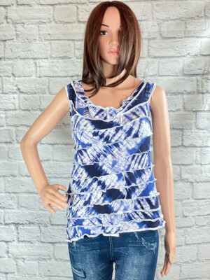 S Threads Upcycled Top Patchwork Spiral Size S/ML