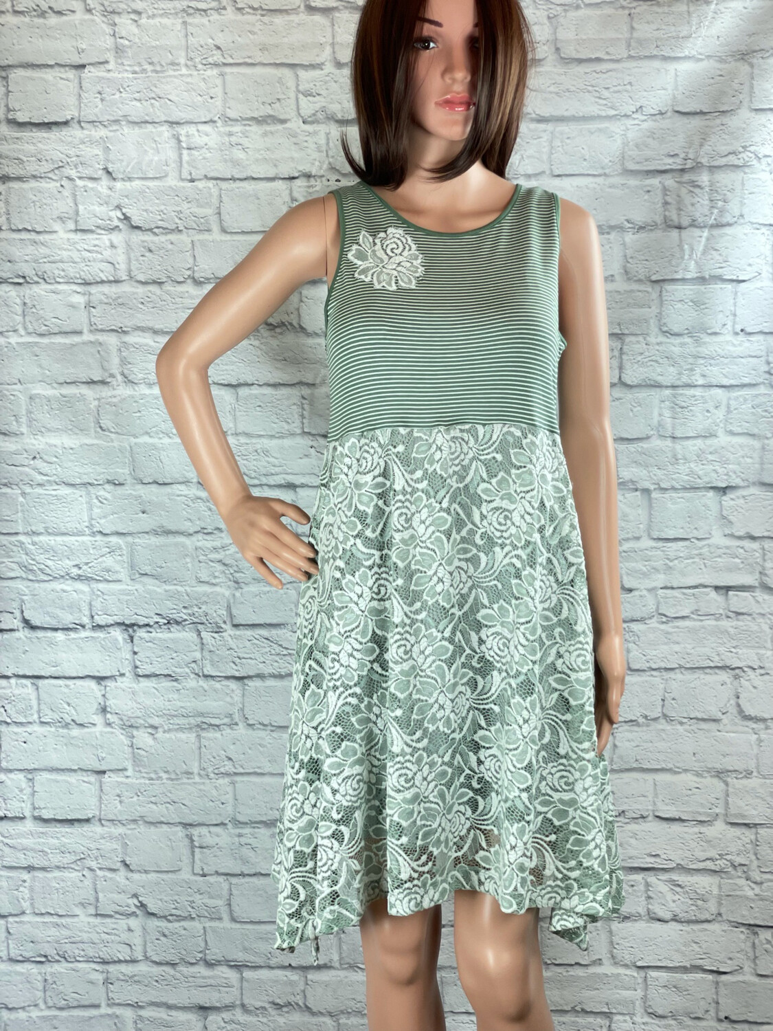 S Threads Upcycled Dress Mint Green Striped Floral Lace Size M/L/XL