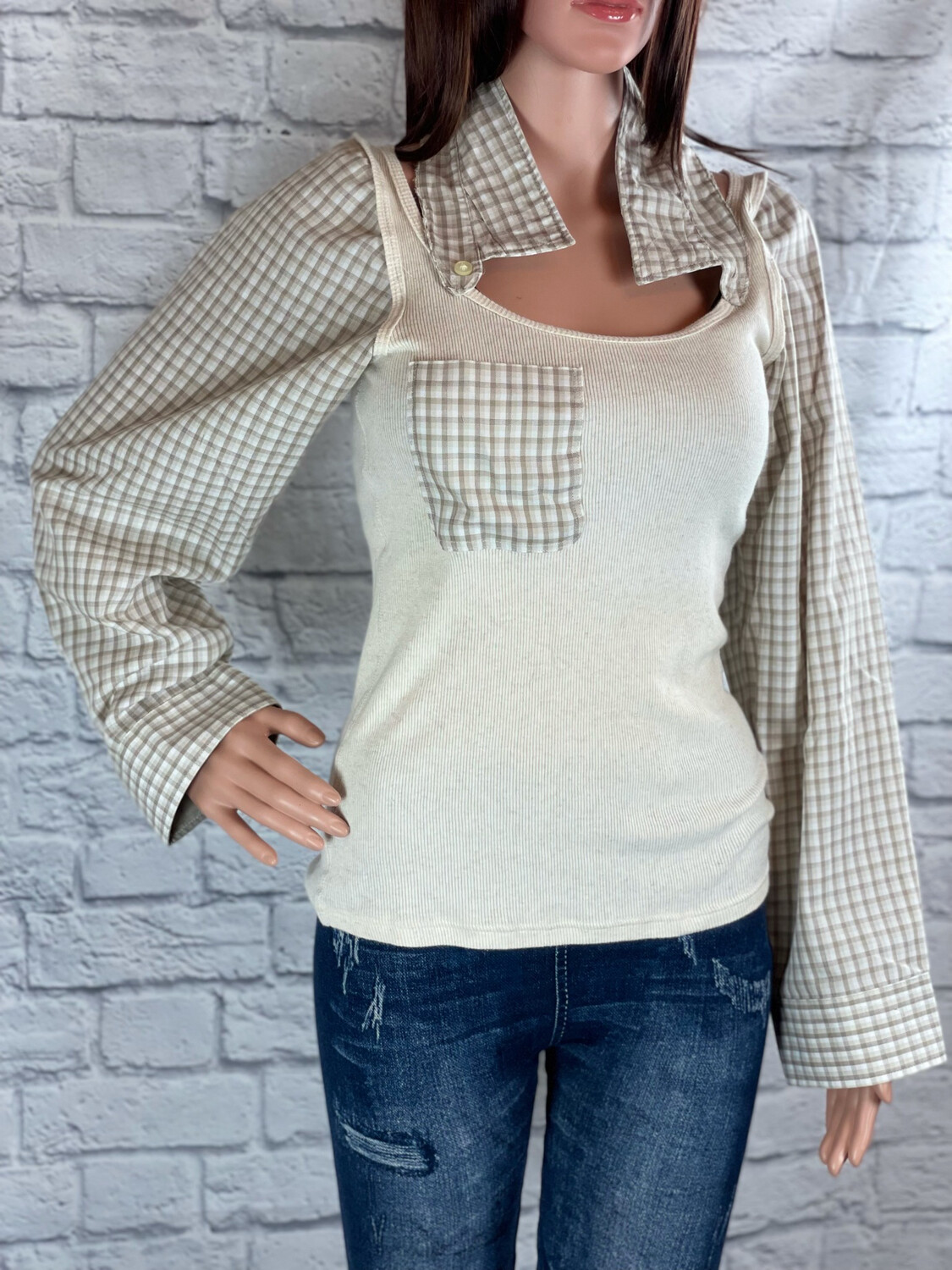 S Threads Upcycled Top Long Sleeve Collar Poof Sleeve Size S/M/L