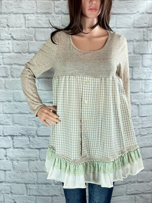 S Threads Upcycled Top Long Sleeve Button Ruffle Size XS/S