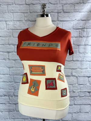 S Threads Upcycled Top Short Sleeve Reworked Friends Tee Size L/XL